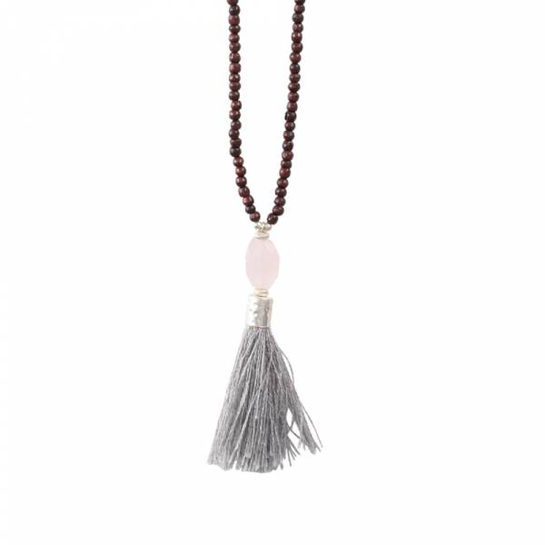 Mala Rose Quartz Silver Necklace