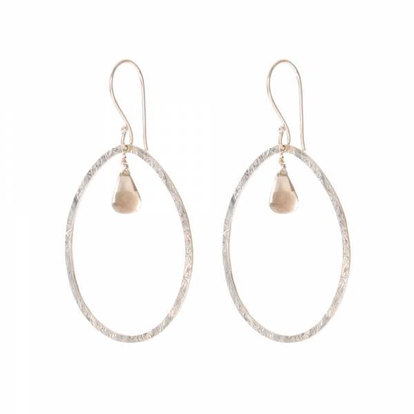 Ellipse Smokey Quartz Silver Earrings