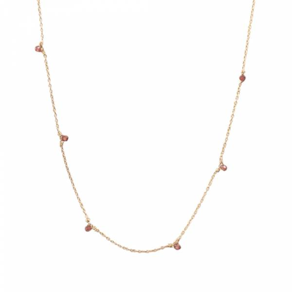 Mini Garnet Sterling Silver Gold-plated Necklace