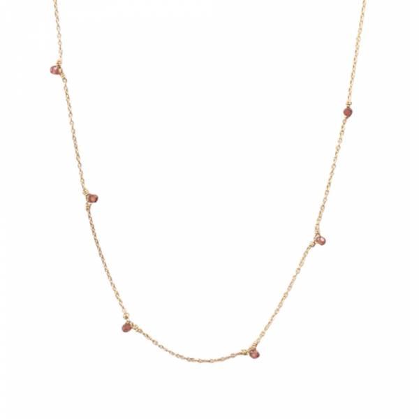 Mini Granat Sterlingsilber vergoldete Halskette