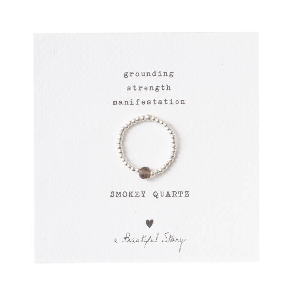 Sparkle Smokey Quartz Silver Ring M/L
